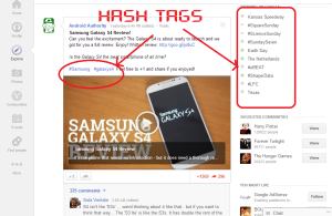 hash tag in google plus